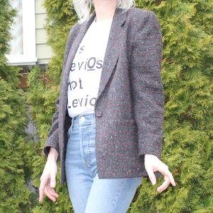 Vintage 90s Style Wool Oversized Boyfriend Blazer